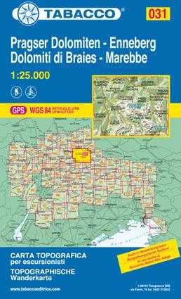 031 DOLOMITI DI BRAIES - PRAGSER DOLOMITEN - MAREBBE - ENNEBERG mapa turystyczna 1:25 000 TABACCO