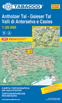 032 ANTHOLZER TAL - GSIESER TAL - VALLI DI ANTERSELVA E CASIES mapa turystyczna 1:25 000 TABACCO