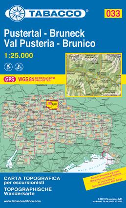 033 PUSTERTAL - VAL PUSTERIA - BRUNECK - BRUNICO mapa turystyczna 1:25 000 TABACCO