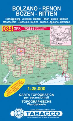 034 BOLZANO - RENON - BOZEN - RITTEN mapa turystyczna 1:25 000 TABACCO