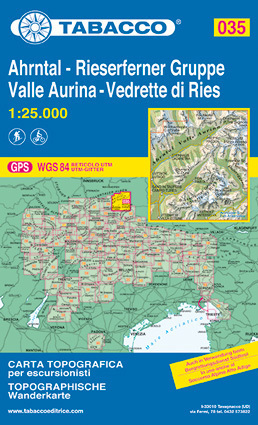 035 VALLE AURINA - AHRNTAL - VEDRETTE DI RIES - RIESERFERNER GRUPPE mapa turystyczna 1:25 000 TABACCO