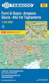 002 FORNI DI SOPRA - AMPEZZO - SAURIS - ALTA VAL TAGLIAMENTO mapa turystyczna 1:25 000 TABACCO