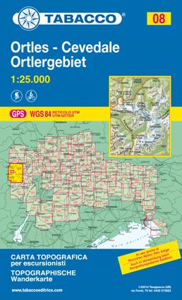008 ORTLES - CEVADALE - ORTLERGEBIET mapa turystyczna 1:25 000 TABACCO