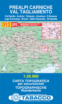 013 PREALPI CARNICHE - VAL TAGLIAMENTO mapa turystyczna 1:25 000 TABACCO