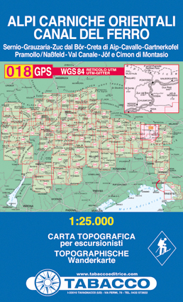 018 ALPI CARNICHE ORIENTALI - CANAL DEL FERRO mapa turystyczna 1:25 000 TABACCO