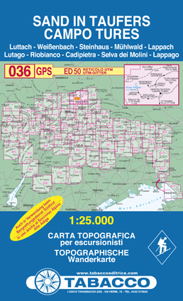 036 CAMPO TURES - SAND IN TAUFERS mapa turystyczna 1:25 000 TABACCO