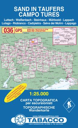 036 CAMPO TURES - SAND IN TAUFERS mapa turystyczna 1:25 000 TABACCO