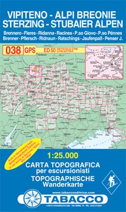 038 VIPITENO - ALPE BREONIE - STERZING - STUBAIER ALPEN mapa turystyczna 1:25 000 TABACCO
