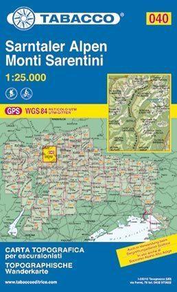040 MONTI SARENTINI - SARNTALER ALPEN mapa turystyczna 1:25 000 TABACCO