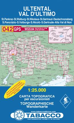042 VAL D'ULTIMO - ULTENTAL mapa turystyczna 1:25 000 TABACCO