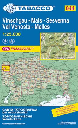 044 VAL VENOSTA - VINSCHAU - SESVENNA mapa turystyczna 1:25 000 TABACCO