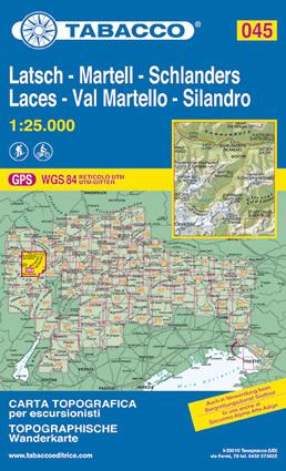 045 LACES - LATSCH - VAL MARTELLO - MARTELL - SILANDRO - SCHLANDERS mapa turystyczna 1:25 000 TABACCO