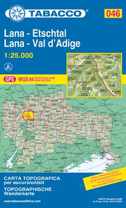 046 LANA - VAL D'ADIGE - ETSCHTAL mapa turystyczna 1:25 000 TABACCO