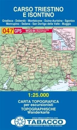 047 CARSO TRIESTINO E ISONTINO mapa turystyczna 1:25 000 TABACCO