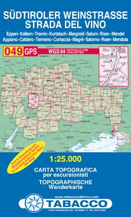 049 SUDTIROLER WEINSTRASSE - STRADA DEL VINO mapa turystyczna 1:25 000 TABACCO