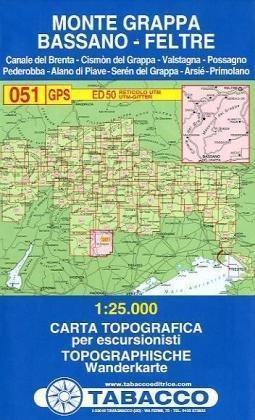 051 MONTE GRAPPA - BASSANO - FELTRE mapa turystyczna 1:25 000 TABACCO