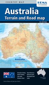 AUSTRALIA mapa drogowo - hipsometryczna HEMA