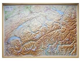 SZWAJCARIA mapa plastyczna w ramie 1:300 000 LAC