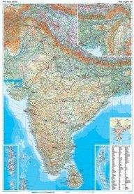 INDIE mapa ścienna geograficzna plakat GIZIMAP