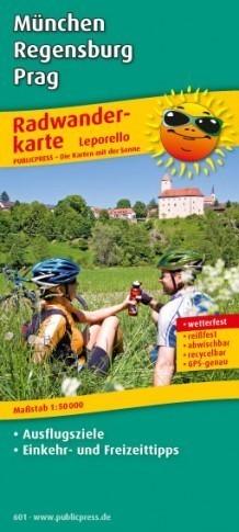 MONACHIUM RATYZBONA PRAGA laminowana mapa rowerowa PUBLICPRESS