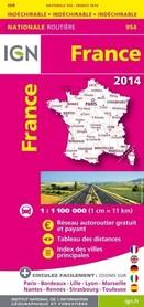 FRANCJA  mapa samochodowa WODOODPORNA IGN 2014