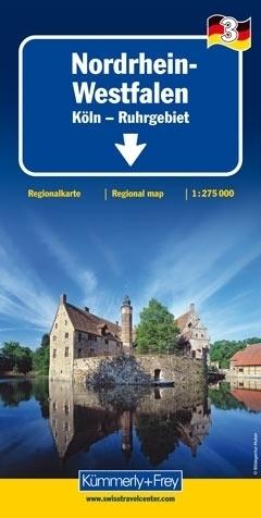 NADRENIA PÓŁNOCNA - WESTFALIA mapa laminowana 1:275 000 KUMMERLY + FREY