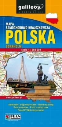 POLSKA wodoodporna mapa samochodowo-krajoznawcza 1:650 000 PLAN 2014