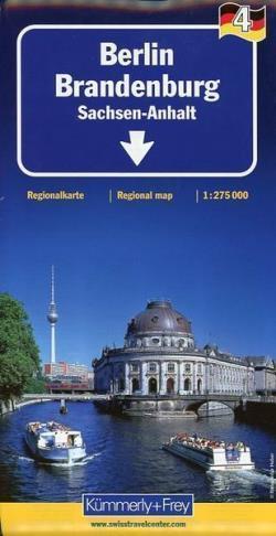 BERLIN BRANDENBURGIA - SAKSONIA ANHALT mapa laminowana 1:275 000 KUMMERLY + FREY