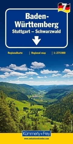 BADENIA WIRTEMBERGIA - STUTTGART - SCHWARZWALD  mapa samochodowa 1:275 000 Kummerly + Frey