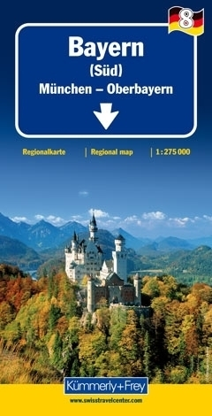 BAWARIA POŁUDNIOWA - GÓRNA BAWARIA mapa samochodowa 1:275 000 Kummerly + Frey