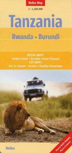 TANZANIA RWANDA BURUNDI mapa samochodowa 1:1 500 000 NELLES
