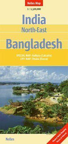 INDIE PÓŁNOCNO WSCHODNIE BANGLADESZ mapa samochodowa 1:1 500 000 NELLES