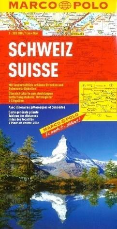 SZWAJCARIA SWITZERLAND mapa samochodowa 1:303 000 MARCO POLO