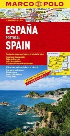 HISZPANIA PORTUGALIA mapa samochodowa 1:800 000 MARCO POLO