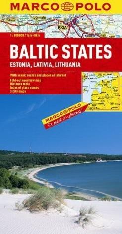 KRAJE BAŁTYCKIE: LITWA, ŁOTWA, ESTONIA  mapa samochodowa 1:800 000 MARCO POLO