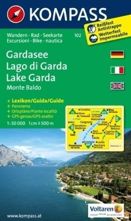 JEZIORO GARDA wodoodporna mapa turystyczna 1:50 000 KOMPASS