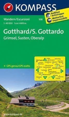 GOTTHARD mapa turystyczna 1:40 000 KOMPASS