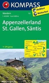 APPENZELLERLAND - ST. GALLEN wodoodporna mapa turystyczna 1:40 000 KOMPASS