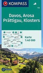 DAVOS - AROSA - PRATTIGAU - KLOSTERS wodoodporna mapa turystyczna 1:40 000 KOMPASS