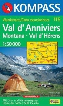 VAL D ANNIVIERS, MONTANA, VAL D HERENS mapa turystyczna 1:50 000 KOMPASS