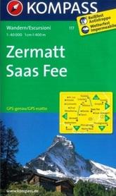 ZERMATT SAAS FEE wodoodporna mapa turystyczna 1:40 000 KOMPASS