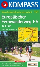 EUROPEJSKIE SZLAKI WĘDRÓWKOWE E5 mapa turystyczna 1:50 000 KOMPASS