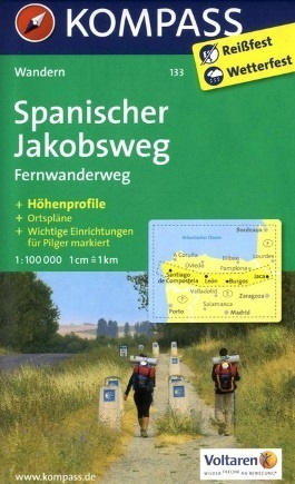 SPANISCHER JAKOBSWEG wodoodporna mapa turystyczna 1:100 000 KOMPASS