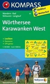 WÖRTHERSEE - KARWANKEN WEST mapa turystyczna 1:30 000 KOMPASS