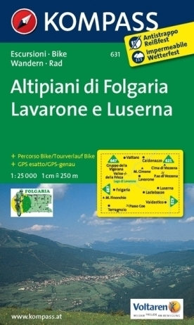ALTIPIANI DI FOLGARIA LAVARONE E LUSERNO wodoodporna mapa turystyczna 1:25 000 KOMPASS