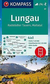 LUNGAU WK67 wodoodporna mapa turystyczna 1:40 000 KOMPASS
