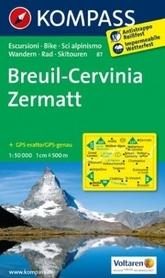 BREUIL CERVINIA ZERMATT wodoodporna mapa turystyczna 1:50 000 KOMPASS