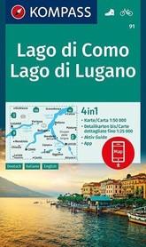 JEZIORO COMO I LUGANO 91 mapa turystyczna 1:50 000 KOMPASS
