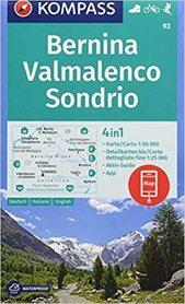 BERNINA SONDRIO VALMALENCO 93 mapa turystyczna 1:50 000 KOMPASS