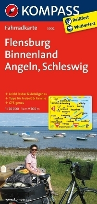 FLENSBURG - BINNENLAND - ANGELN wodoodporna mapa turystyczna 1:70 000 KOMPASS